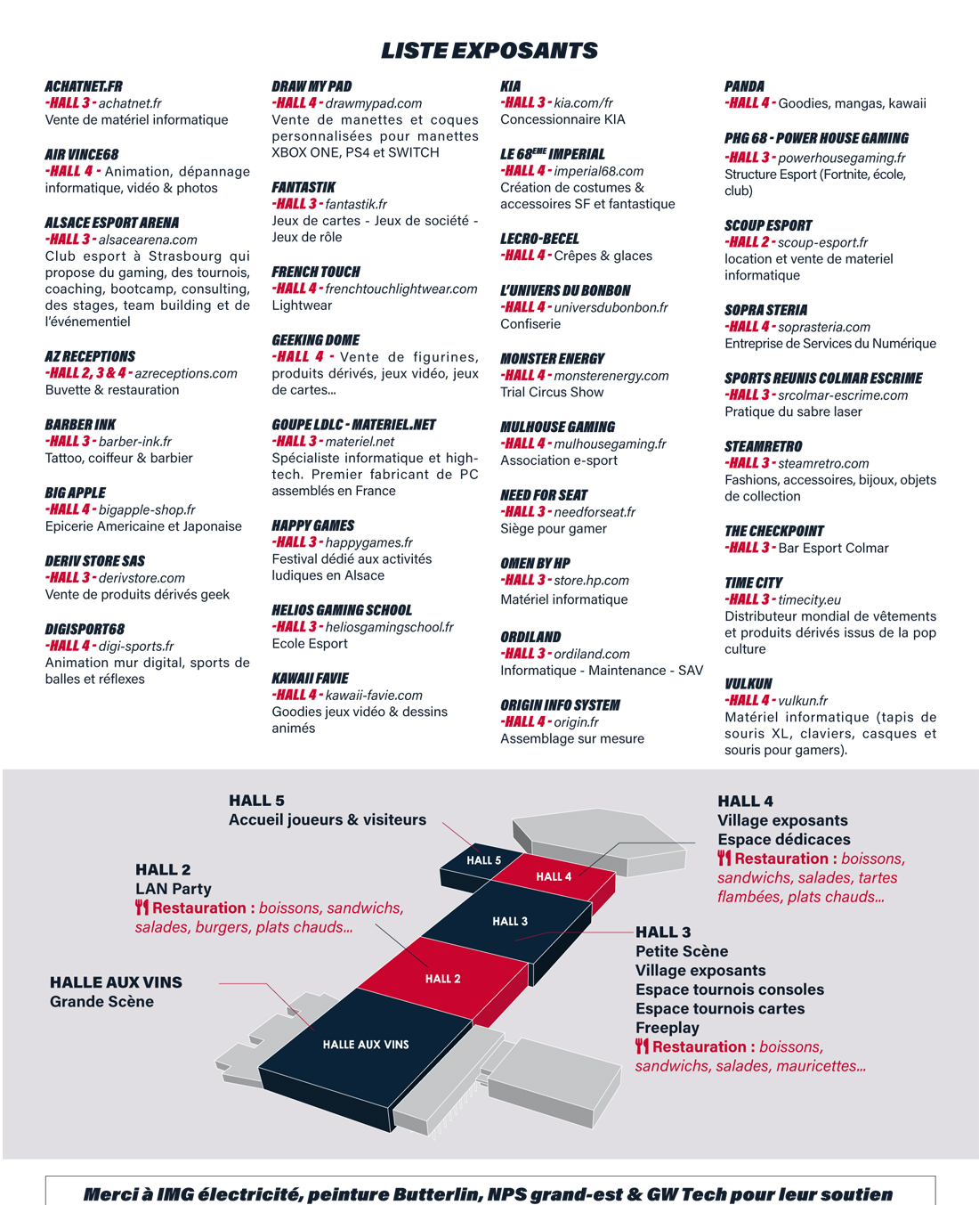 Liste des exposants Colmar Esport Show 2020