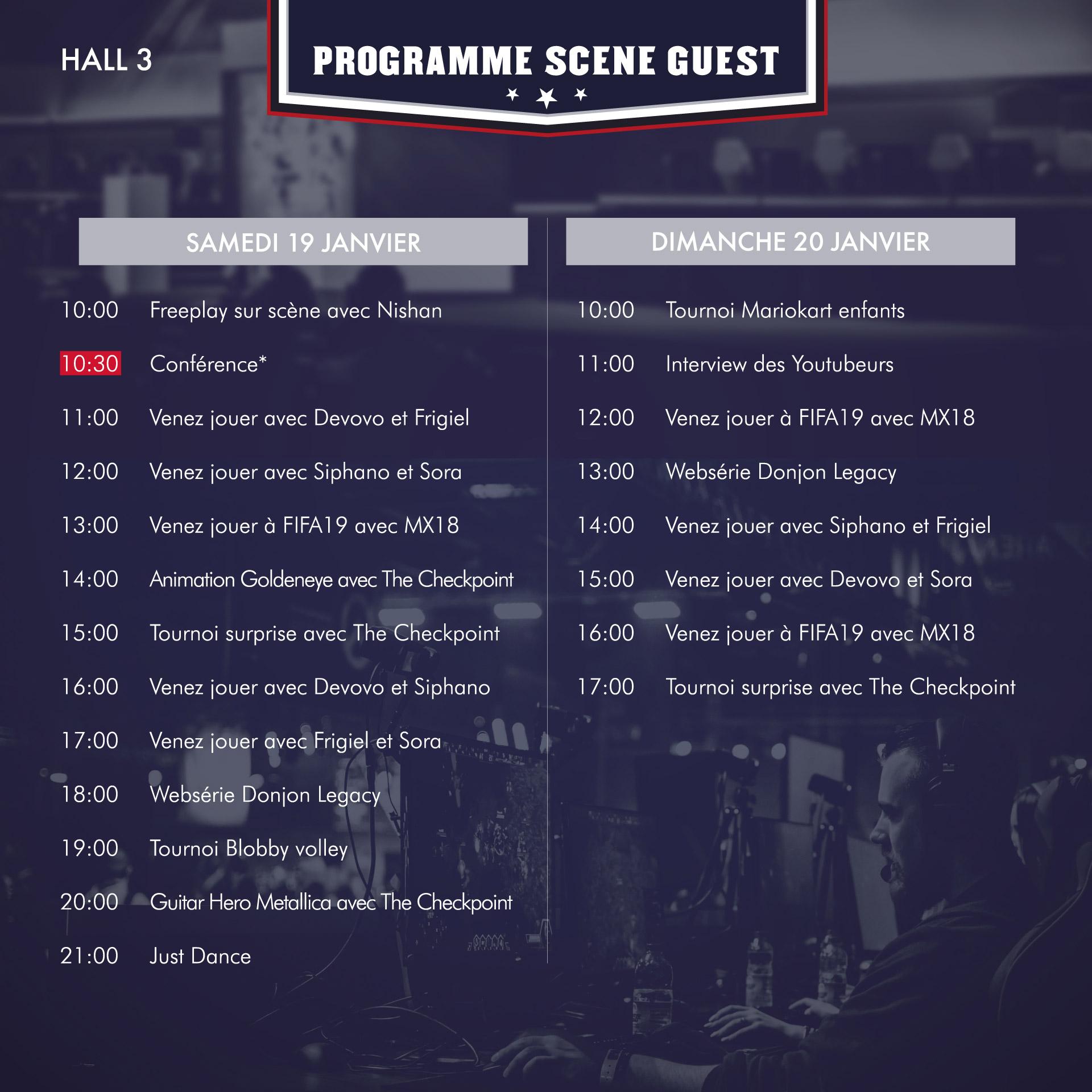 Programme de la scène GUESTS